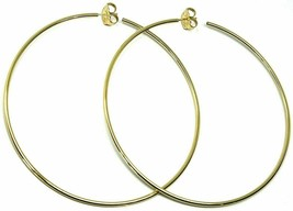 Silver Earrings 925 Circles Large Diameter 9,5 cm Thickness 2 mm Golden image 2