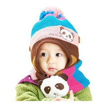 Panda Baby Child Toddler Knitted Wool Hat&Scarf Winter Soft Cap Set 10-36 Months