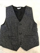 Dressed Up by Gymboree Boys Gray Tweed Lined Button Up Vest Size S(5-6) - $18.69