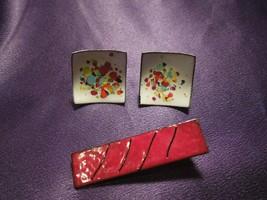 Abstract Modernist Copper Enamel Painted Screw Back Earrings & Brooch  - $19.80