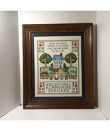 """Bless Our House... Finished and Framed Cross Stitch 23.5"""" x 19.5"""" ABC - $29.02"""