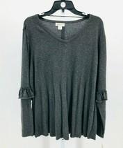 Style & Co. Women's Plus Gray Ruffled-Sleeve Swing Hem V-Neck Sweater 2X... - $21.38