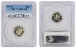 1993-S PERFECT Roosevelt Dime! PCGS PR-70 DEEP CAMEO  - $37.40