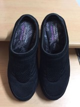 SKECHERS RELAXED FIT MEMORY FOAM Black Leather Clogs Shoes sz 6.5 - £10.95 GBP