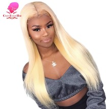 QUEEN 613 Blonde Lace Front Human Hair Wig Pre Plucked Remy Straight Bra... - $404.21