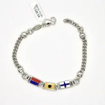 Armband 925 Silber Rhodiniert mit Flaggen Offz. Blaue Paspel Emaille Mad... - $136.17