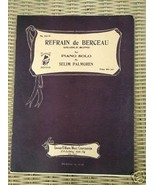 Refrain de Derceau (Cradle Song) 1935 Sheet Music by Selim Palmgren  Kal... - $2.50