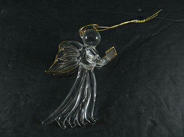 Clear BLOWN Glass ANGEL Reading Bible Golden Wings HALO Hanging Figurine... - $25.00