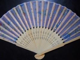 Beautiful Silk Fan with Flowers Stars Handheld Fan Folding Fans Asian n141 - $7.99