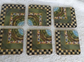 Set of 6 Mackenzie Childs Cloud Watching Courtly Check Corkback coasters... - $84.15