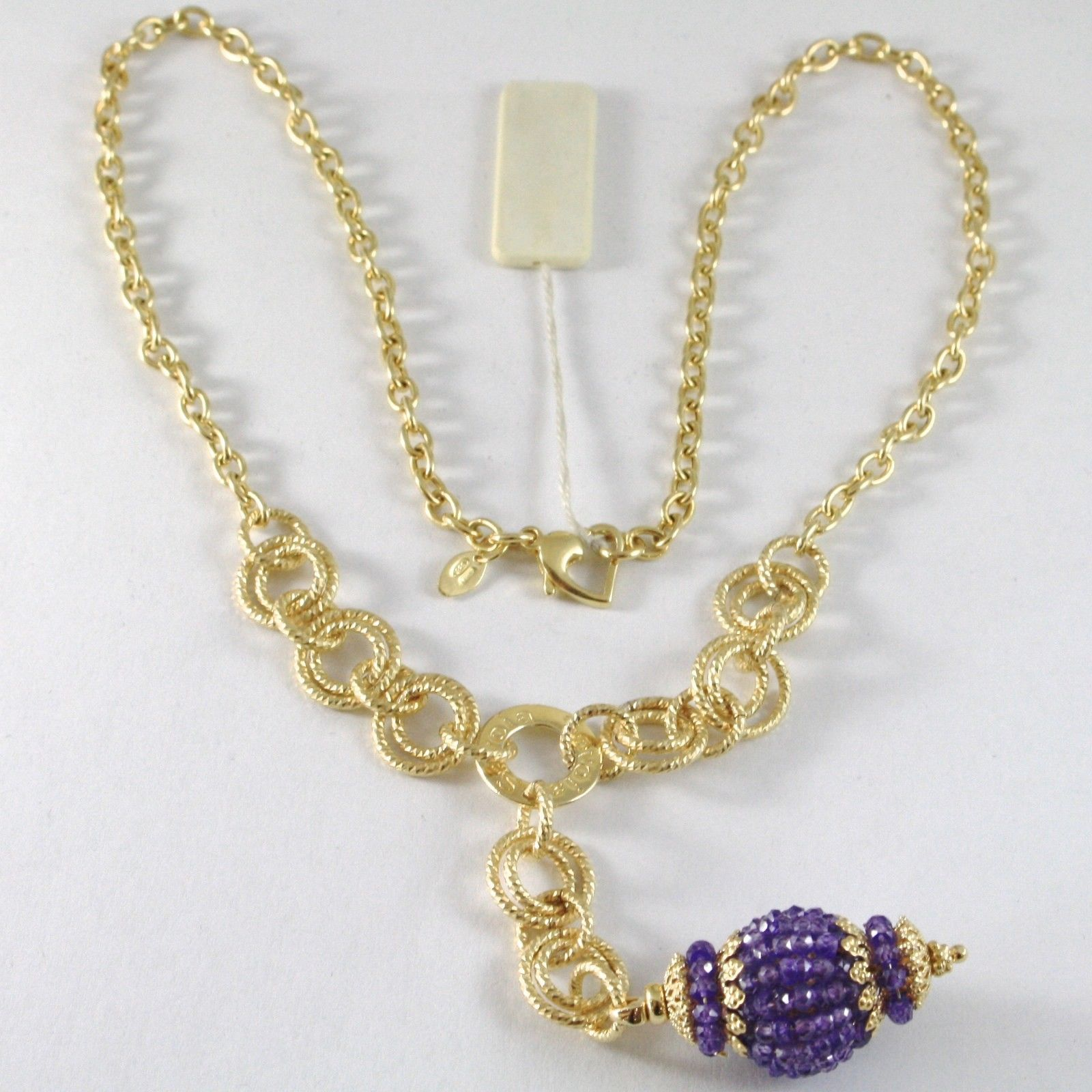 SILVER 925 NECKLACE YELLOW GOLD PLATED WITH HANGING CHARM MILLED AND AMETHYST
