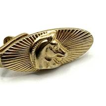 "Vintage Tie Clip Horse Head Mens Gold Tone Oval 1"" - $12.16"