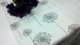 TABLE RUNNER DANDELIONS Gray flower dandelions on white, grey wedding, b... - $19.00