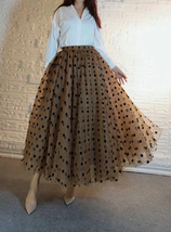 Full Long Tulle Skirt High Waisted Polka Dot Tulle Skirt Outfit Plus Size Puffy image 1