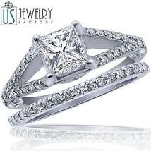 1.75 ct (1.05) Princess Diamond Engagement Ring Wedding Band Set 14k Gol... - €3.982,94 EUR
