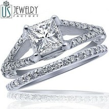 1.75 ct (1.05) Princess Diamond Engagement Ring Wedding Band Set 14k Gol... - £3,314.03 GBP