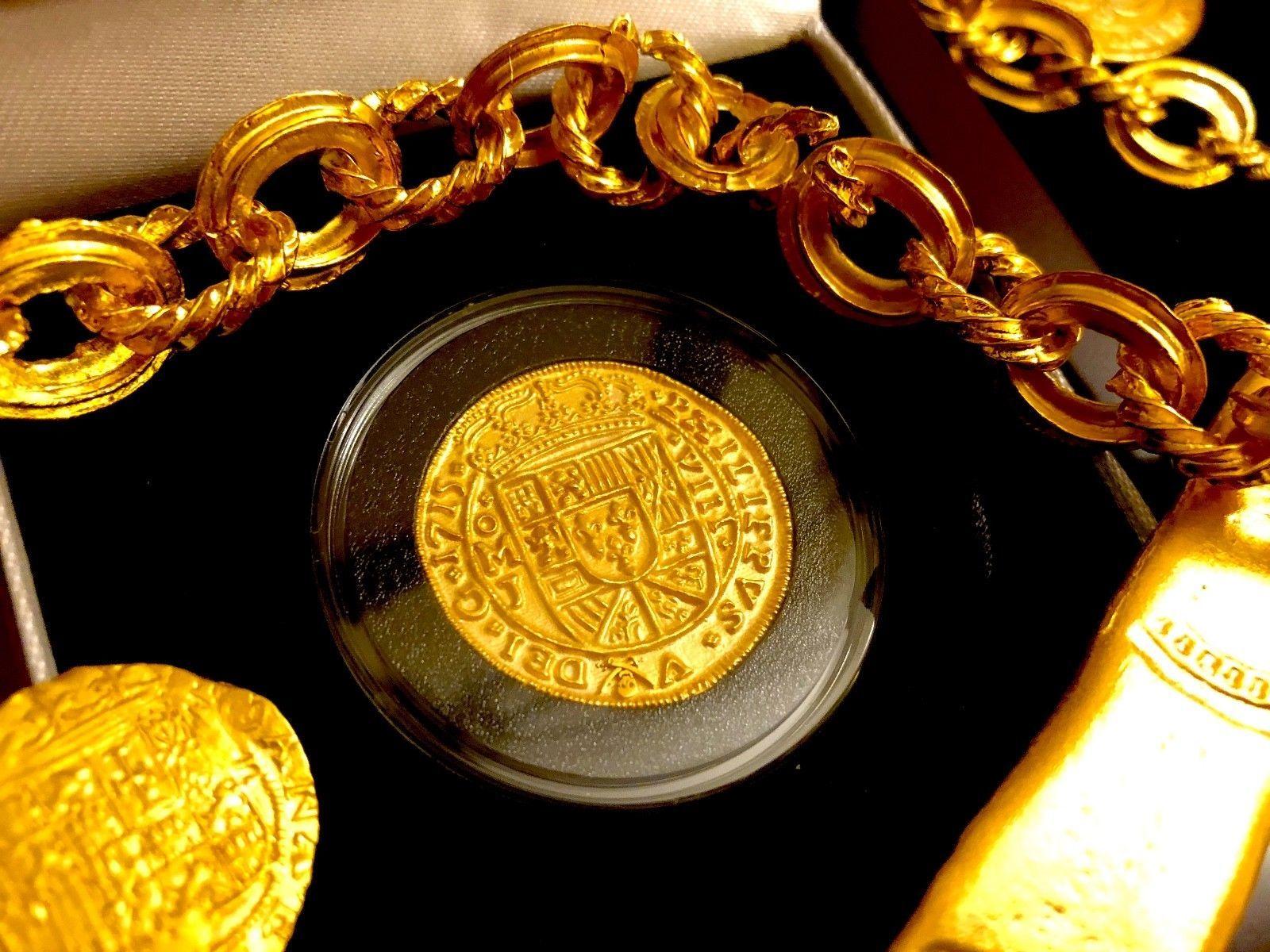 ROYAL EMERALDS MEXICO 1715 FLEET 8 ESCUDOS GOLD PLT DOUBLOON TREASURE COIN