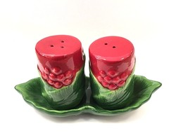 Martha Stewart Collection Holiday Garden Salt & Pepper Shakers with tray... - £13.97 GBP