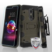 Dark Grey/Black 3-in-1 Storm Tank Hybrid Cover Combo for LG K30/Premier Pro - $15.72