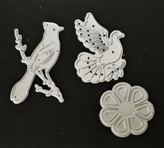 Set of 2 Bird and 1 Flower Die- Card Making Scrapbooking Art Journaling