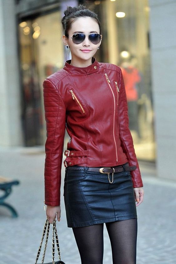 WOMEN BIKER MOTORCYCLE CASUAL SLIM FIT RIDER REAL GENUINE  LEATHER JACKET-A65