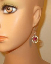 made w Pink & White Swarovski Elements Crystal Butterfly in Frame Earrings HC - $12.87