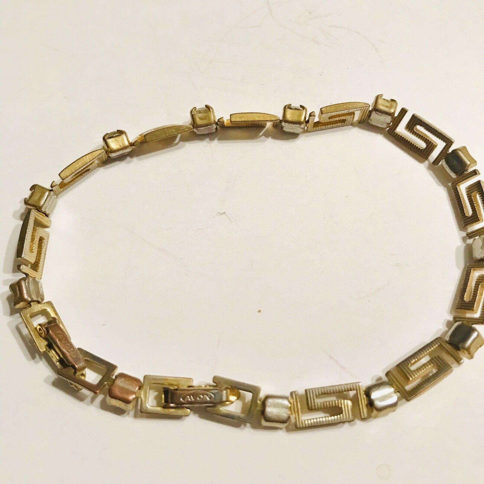 Vintage Avon Tennis Bracelet Gold Tone & CZ Scroll Work Design J0691 image 3