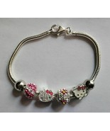 Hello Kitty Sterling Silver Bead Crystal & Bracelet 7 Piece Set NEW - $159.99