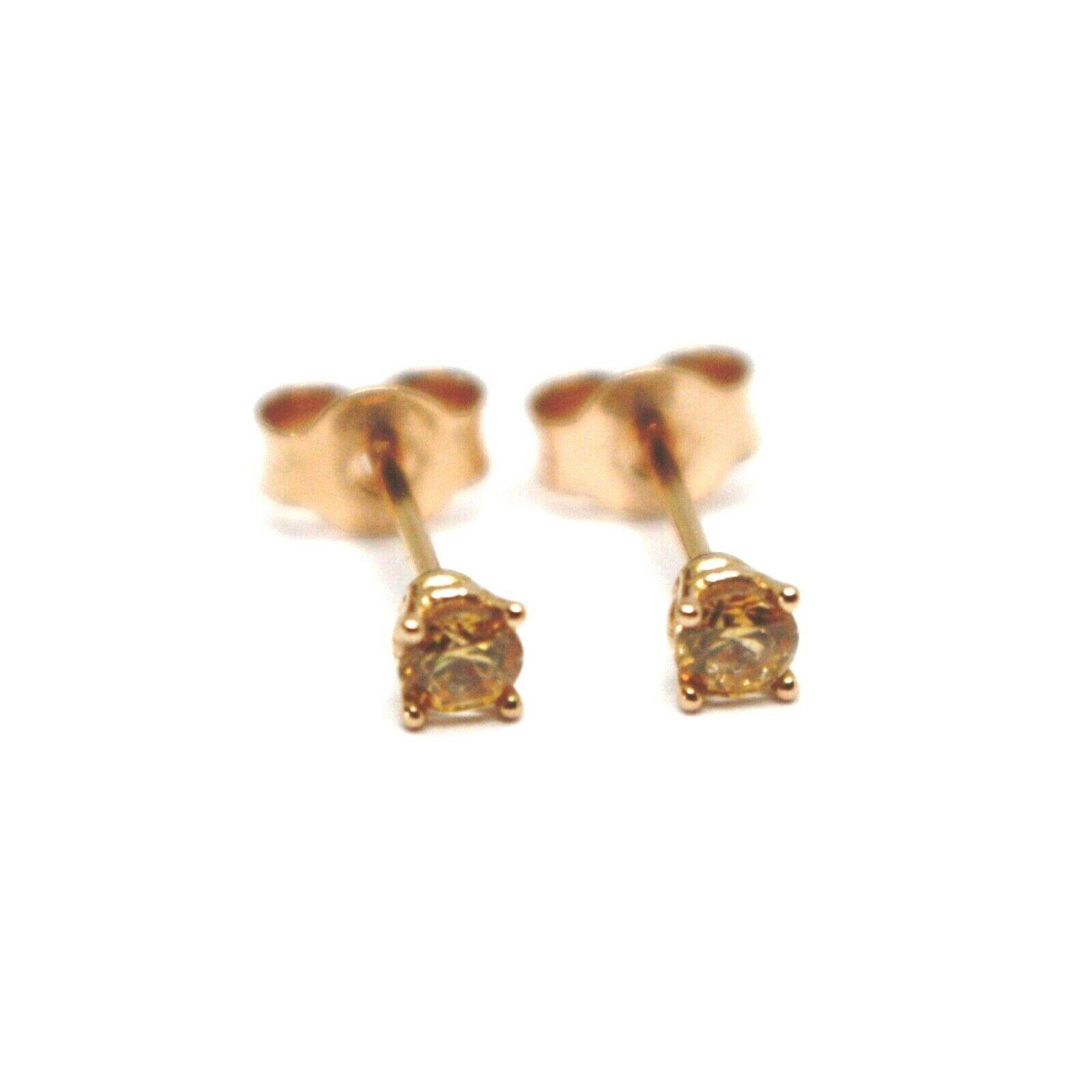 """18K ROSE GOLD MINI BUTTON EARRINGS YELLOW CUBIC ZIRCONIA, DIAMETER 3mm 0.12"""""""
