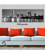 Single panel Art Canvas Print City Skyline Milwaukee Downtown Wall home decor
