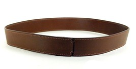 100% Authentic HERMES Snap Brown Leather Belt Small Size 28.5 / 72cm Made France - $216.81