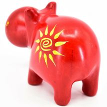 "Hand Carved Kisii Soapstone ""Crimson Sunshine"" Red Hippopotamus Hippo Figure image 3"