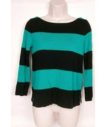 J Crew Womens Pullover Crew Neck Sweater Size XS Black Teal Striped - $21.02