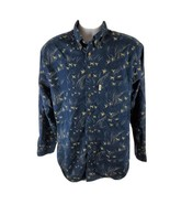 Roundtree And Yorke Mens Button Front Shirt Sz M Med Blue Geese Long Sleeve - $18.13