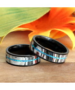 Couples Matching Wedding Bands Blue Opal Fordite Rings Black Stainless S... - $144.99
