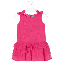 Mayoral Little Girls Fuchsia Embroidered Bow Shoulder Drop Waist Chiffon Dress