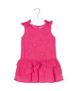 Mayoral Little Girls Fuchsia Embroidered Bow Shoulder Drop Waist Chiffon... - $39.90