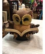 Owl Figurine Bird Animal Wildlife Resin Brown Owl Big Holding Book Bank - $85.28