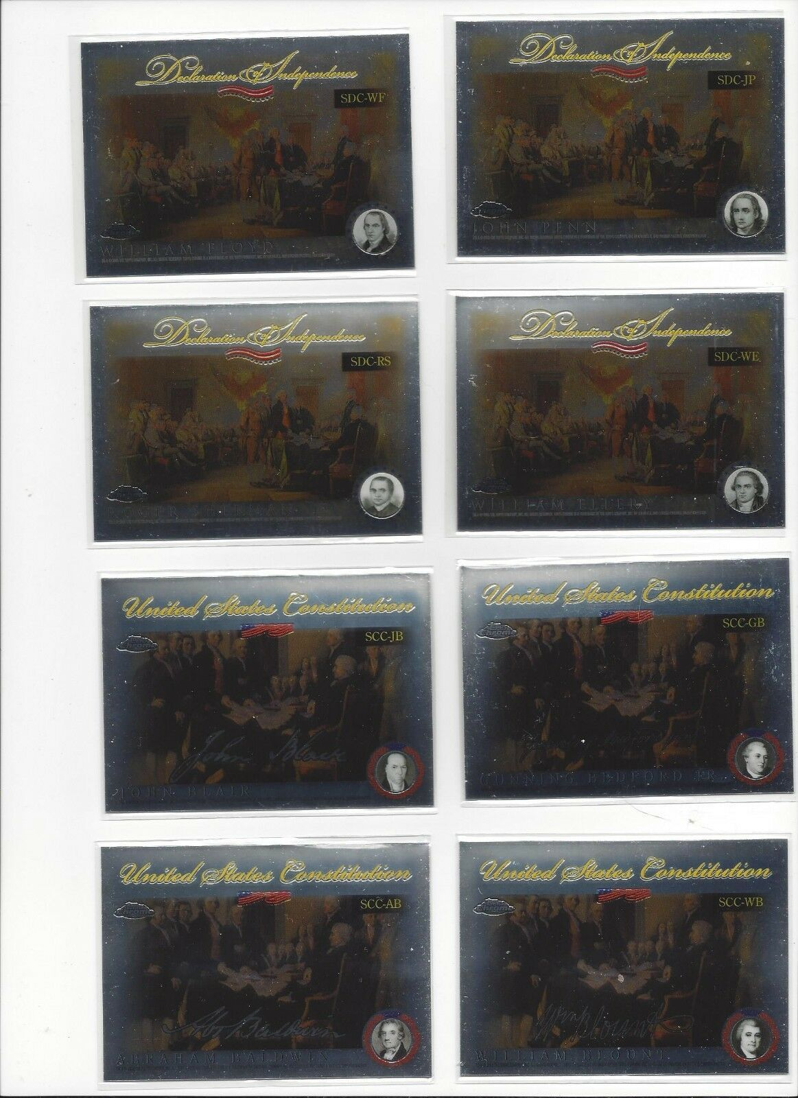 2006 TOPPS CHROME - DECLARATION INDEPENDENCE, U.S CONSTITUTION INSERTS - U PICK!