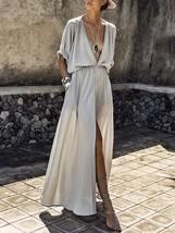 Deep V Neck High Split Gray Chiffon Dress Half Sleeves - $29.90