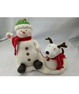 Hallmark Animated Snowman Dog Plush Decoration Happy Holidays Musical St... - $22.45