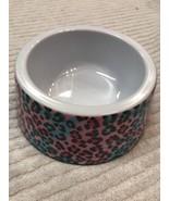 Dog Puppy Bowl Size 6 Inch Feeder Dish Pink Blue Leopard Pattern Design - $15.08