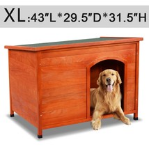 Wood Weather Resistant Home Outdoor Ground Dog House-XL - $259.92
