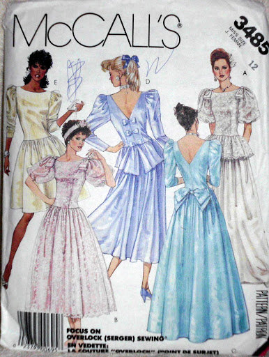 Wedding Bridesmaids Special Occasions Dresses Size 12 Vintage 1987 McCalls 3485