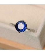 1Ct Round Cut Blue Sapphire Solitaire Engagement Ring In 14K White Gold ... - $73.35