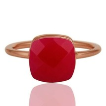 Natural Pink Chalcedony 925 Sterling Silver Ring Rose Gold Plated Jewelry  - $16.00