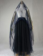 Navy Polka Dot Tulle Skirt Navy Long Tulle Skirt Wedding Guest Outfit image 5