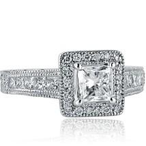 1.77 Carat Princess Cut Diamond Engagement  Millgrain Edged Ring 18k White Gold - $3,464.01