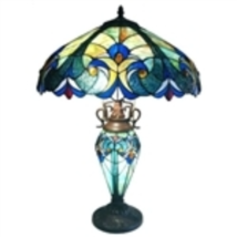 3-Light Victorian Tiffany Style Multi-Colored Glass Table Lamp - $221.65