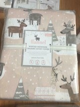 Pottery Barn Kids Winter Reindeer Duvet Cover Queen 2 Standard Shams Flannel  - $176.00